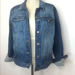 GAP denim jean jacket button up size Large